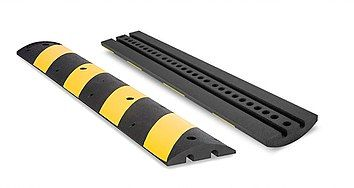 Black Rubber Speed Bump with Yellow Stripes